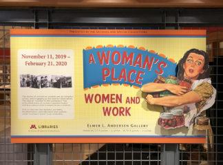Women and Work exhibit entrance signage