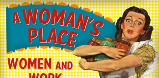 A Woman's Place exhibit illustration featuring an advertisement image from the mid-20th century