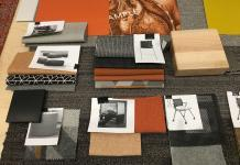 Photo of orange-themed fabric swatches and furniture finishes.