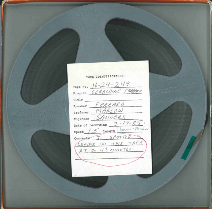 Audio reel with tape identification card for the March 14, 1985 talk given by Geraldine Ferraro.