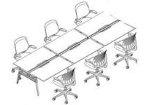 Schematic of long desk with individualized seating and office chairs.