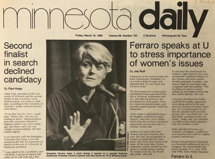 "Minnesota Daily headline, ""Ferraro speaks at U to stress importance of women's issues,"" March 15, 1985."
