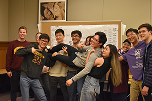 Taking second place was The Fighting Calculators — Jane Wang, Cody Hou, Saumik Narayanan, Kyle Korkko — hanging out here with some friends.