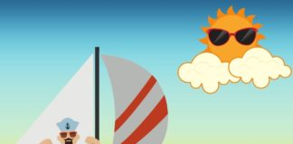 Graphic design of sailor on sailboat and a sunshine with sunglasses.