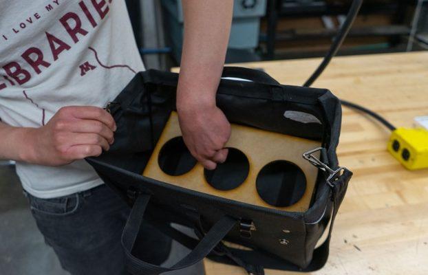 Laser cut divider for bike saddle bag.