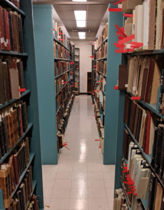 Bookshelves at the Health Sciences Libraries.