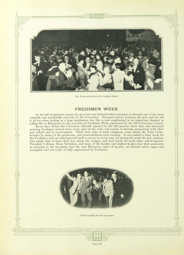 1928 Gopher, Freshman Week page http://purl.umn.edu/134833. Yearbook page includes photograph of students dancing.