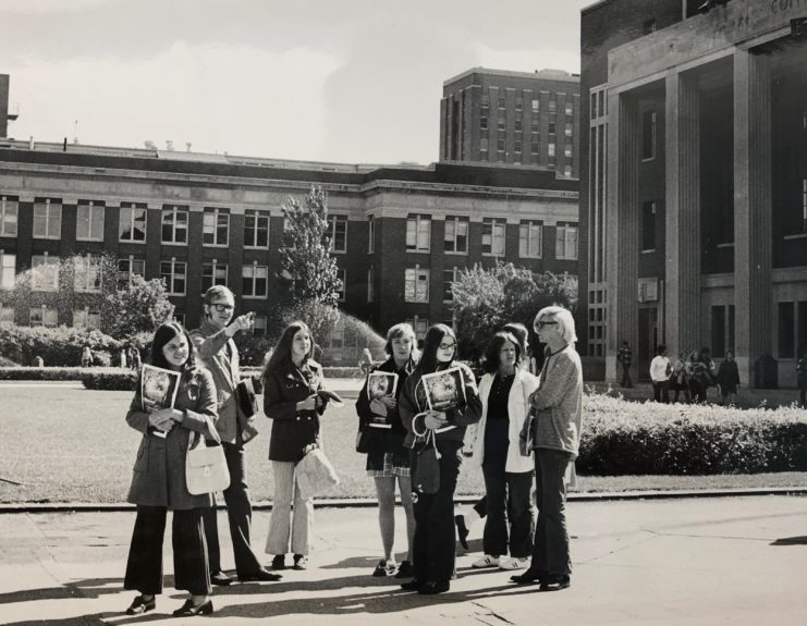 Photograph: Students attending Welcome Week in 1971 in front of Coffman Memorial Union.