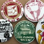 Five Welcome Week buttons from the years 1932, 1947, 1962, 1964 & 1973