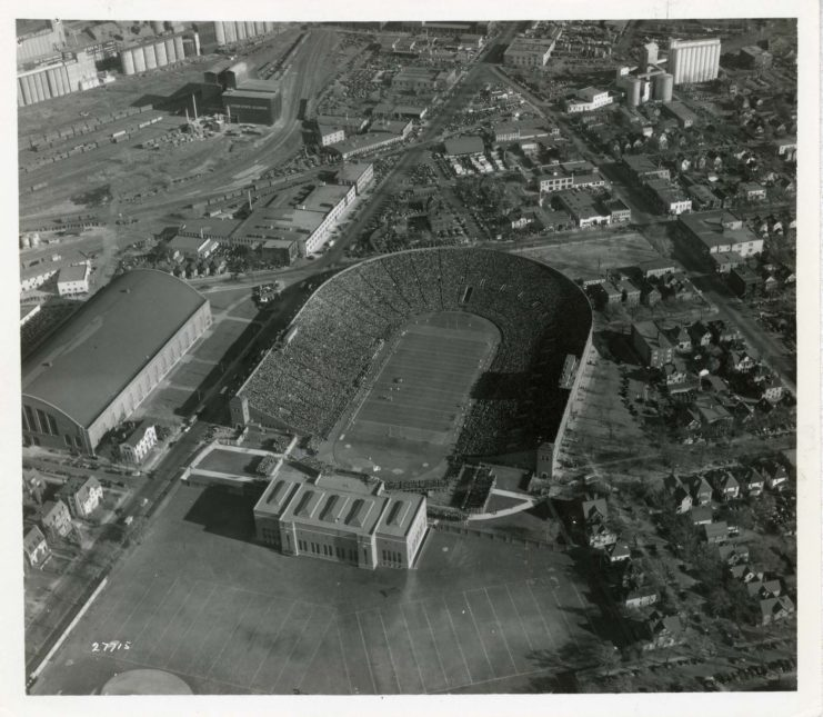 Aerial View of Memorial Stadium and surrounding buildings, 1937, available at http://brickhouse.lib.umn.edu/items/show/200