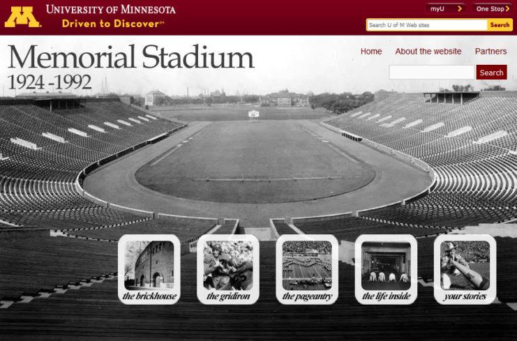 Home page for the digital exhibit Brickhouse: Memorial Stadium, 1924-1992 online at http://brickhouse.lib.umn.edu.