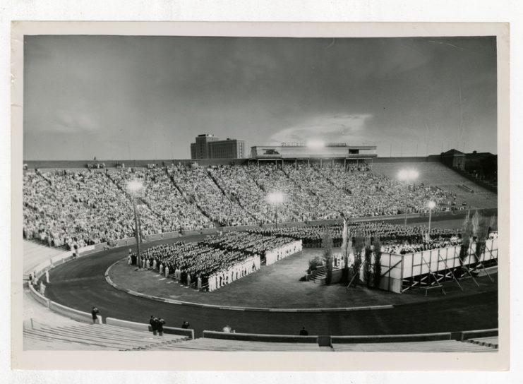 University Commencement Ceremony in Memorial Stadium, 1954, available at http://brickhouse.lib.umn.edu/items/show/413