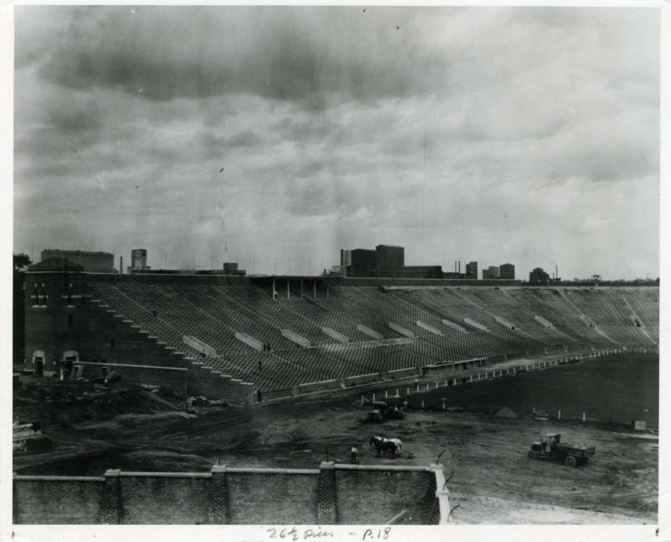 Memorial Stadium under construction, 1924, available at http://brickhouse.lib.umn.edu/items/show/202