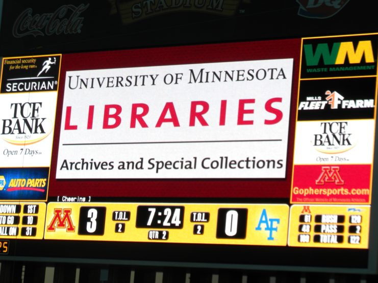 University Libraries Archives & Special Collections on the scoreboard! Photo courtesy of Brenda Oare.