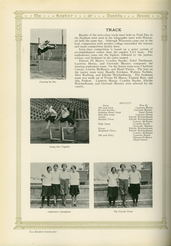 Women's Track Field Day at Memorial Stadium depicted in the 1927 Gopher Yearbook, available at http://brickhouse.lib.umn.edu/items/show/483
