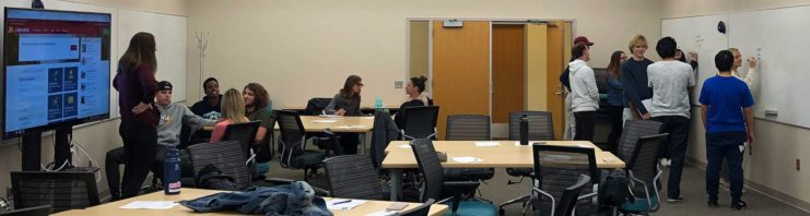 Active Learning classroom in use