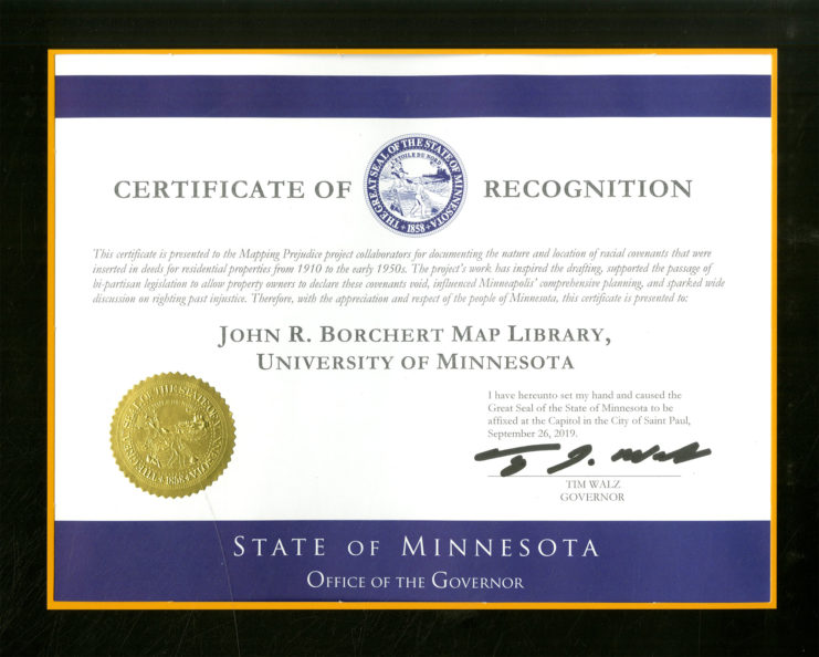 Governor's Certificate of Recognition to the Mapping Prejudice team