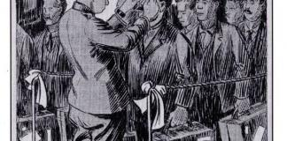 Black and white illustration by K. A. Suvantoo showing man inspecting immigrants at Ellis Island, New York