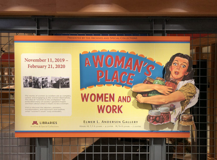 "Banner for ""Women and Work"" exhibit, with woman in an apron holding canned foods"