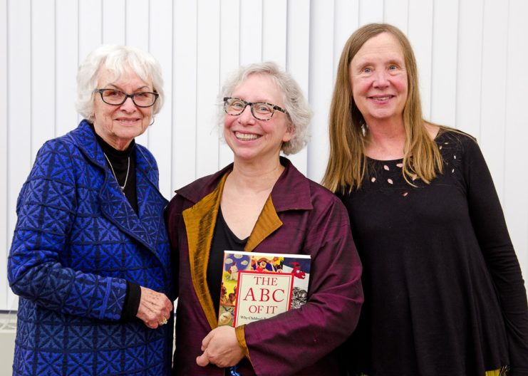 Norma Gaffron, Curator Lisa Von Drasek, and author Claudia Mills at the 2019 Kerlan Award Ceremony.