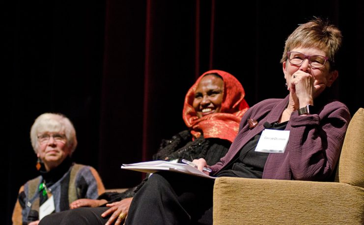 The second event in the Friends Forum series took place in December 2018. The panel discussion — #MeToo: Monumental or Momentary? — led by Sara Evans, UMN Regents Professor Emerita and Friends of the Libraries board member, generated thought-provoking conversation both before and after the event. Panelists Mariam Mohamed, Simran Mishra, Carolyn Chalmers, and Lindsey Middlecamp joined Sara Evans in this important discussion. Pictured, from left: Sara Evans, Mariam Mohamed, and Carolyn Chalmers.
