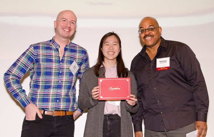 As part of the Members Appreciation event program, board members of the Friends of the Libraries awarded the 2019 Outstanding Library Student Employee Awards. Pictured below: Benjamin Wiggins, Claire Yang, and FOL board member Amelious Whyte.