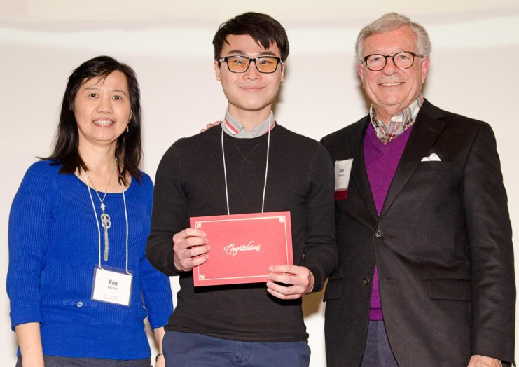 As part of the Members Appreciation event program, board members of the Friends of the Libraries awarded the 2019 Outstanding Library Student Employee Awards. Pictured below: Kim Tran, Hau Xiong Low, and FOL board member Jake Beard.
