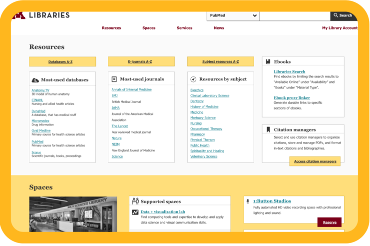 New Health Sciences Library Website