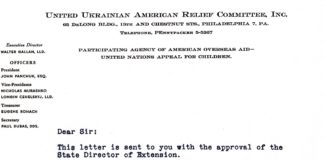 Photo of an undated letter in black typescript, with letterhead of the United Ukrainian American Relief Committee.
