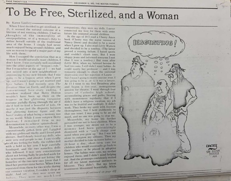 """""""To be free, sterilized, and a woman"""" article from the Dec. 12, 1972 Boston Phoenix newspaper"""
