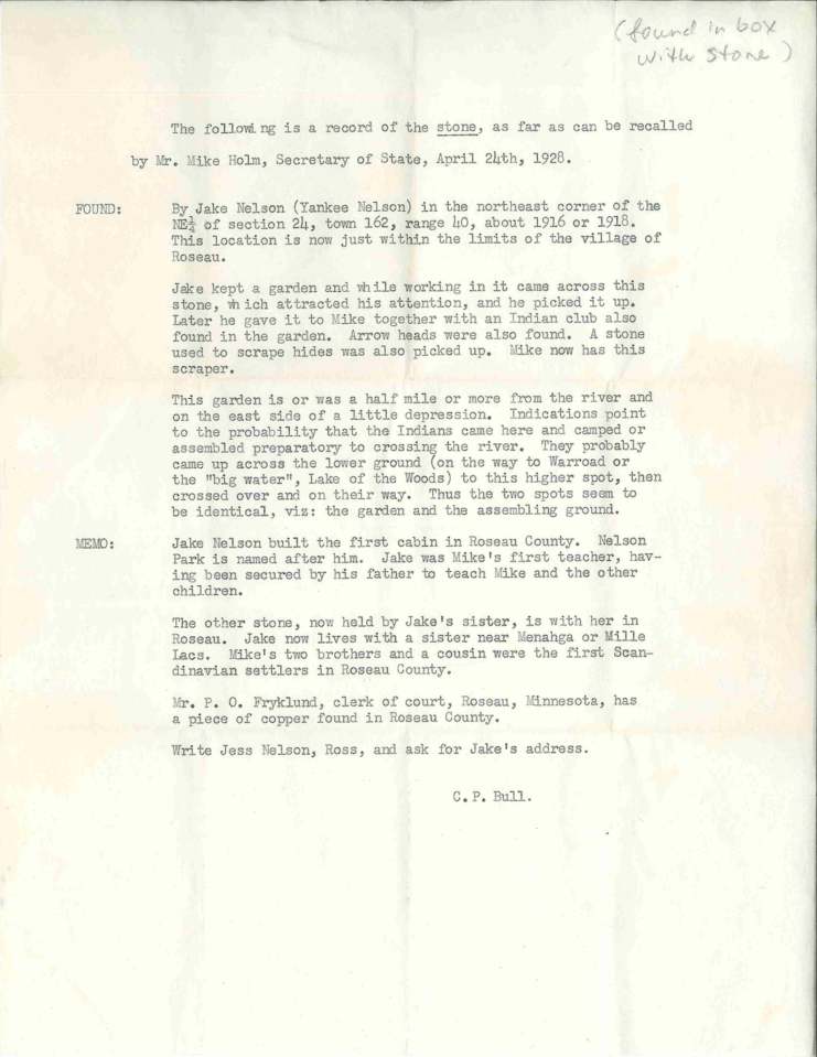 Memo recorded by CP Bull, Department of Agriculture, after a conversation with Mike Holm, Minnesota Secretary of State, regarding the origin of the stone on April 24, 1928. Source: University of Minnesota Archives, Theodore C. Blegen papers (#00961).