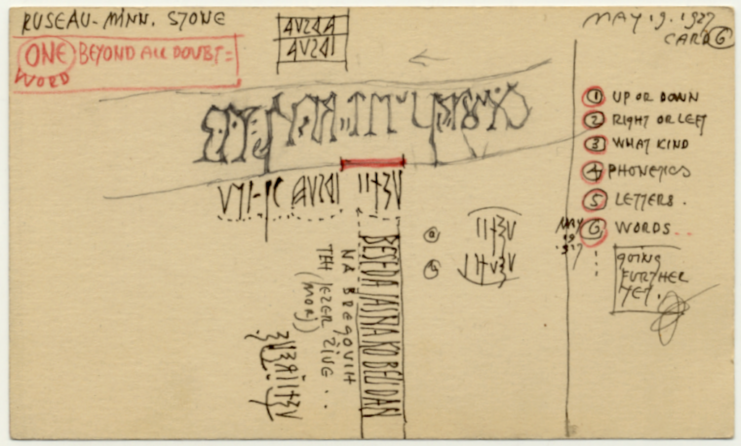 John Jager's interpretation of markings and letters, 1927. Source: Northwest Minnesota Historical Center at Minnesota State University Moorhead, Roseau Stone Collection (S836).