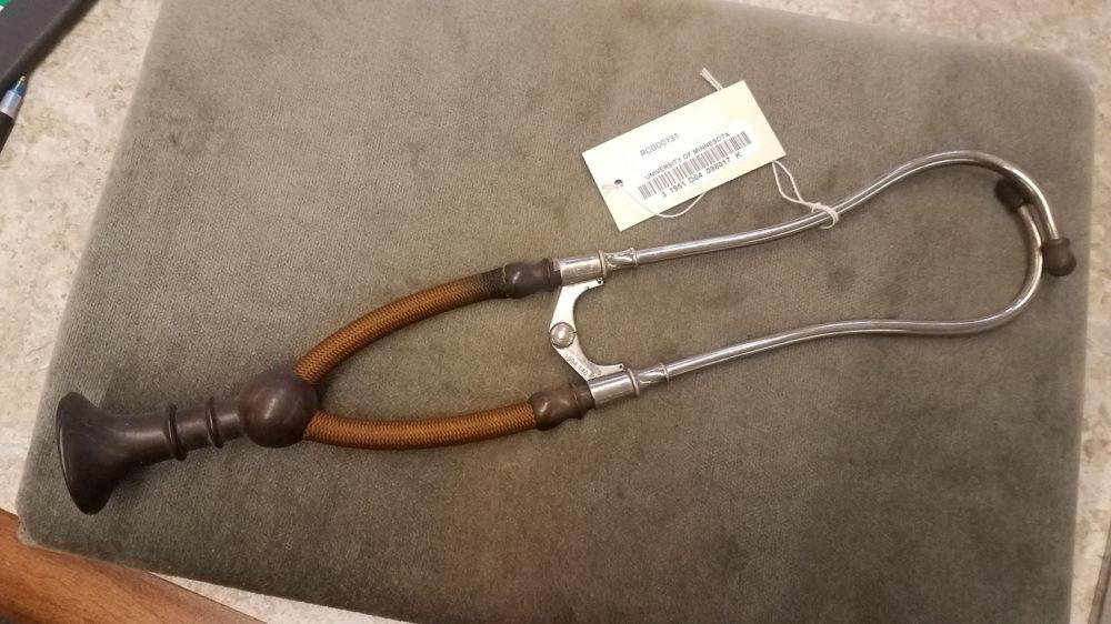 Early 1900s model of a binaural (two-ear-piece) stethoscope.