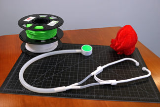 3D printed stethoscope, 3D printed heart, and printing filter reels