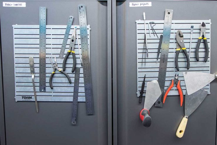 A wall of tools in the Breakerspace