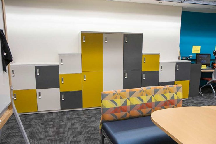 A wall of lockers in the toaster