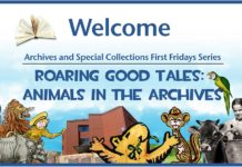 "Marketing image for 2019-2020 First Fridays series ""Animals in the Archives"""