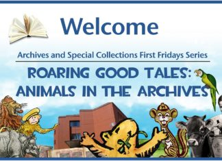 """Marketing image for 2019-2020 First Fridays series """"Animals in the Archives"""""""