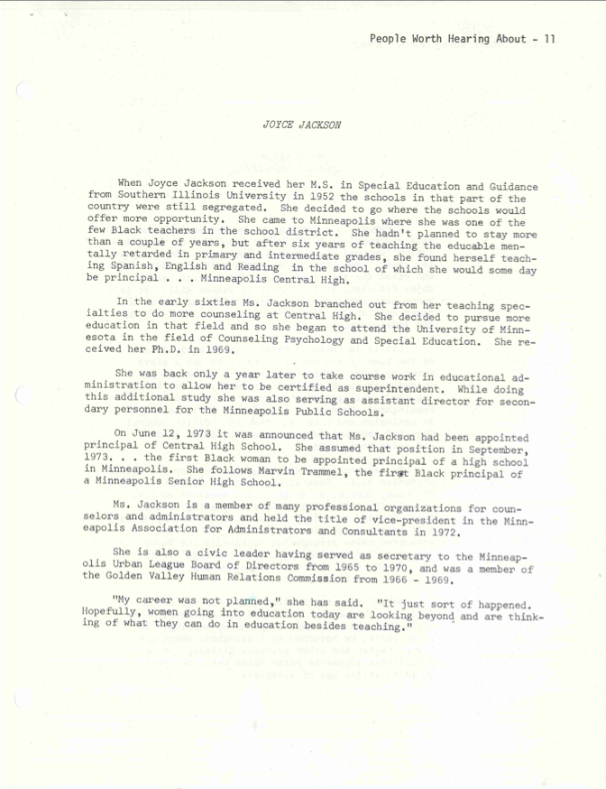 Page 11 from the People Worth Hearing About Teacher's Handbook featuring Joyce Jackson, Part 1: 1973-1974, Box 112, University of Minnesota Radio and Television Broadcasting records, ua01039, University Archives.