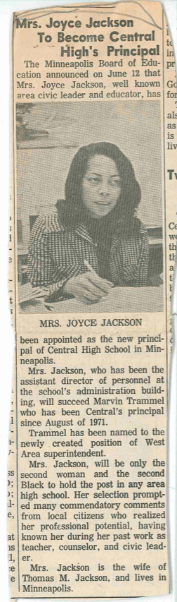 Headline: Mrs. Joyce Jackson to Become Central High's Principal. Undated newspaper clipping about Dr. Jackson found in a program folder, Box 16, Betty T. Girling papers, ua00192, University Archives.