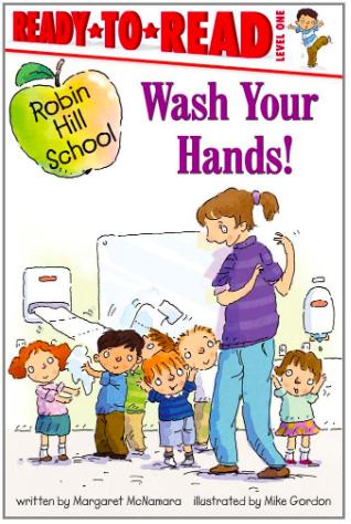 White teacher teaching small children to wash their hands