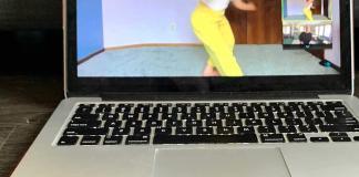 Arcadia Langmead dancing as viewed on Annie's laptop