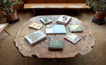 Nakashima Oak Burl Table in Andersen Library
