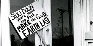 Slow Down: you're moving too fast... Sign from 1970 Earth Day at UMN