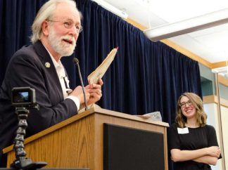 Jim Lenfestey at the 2018 Prairie Poets and Press event, with Kate Hujda.