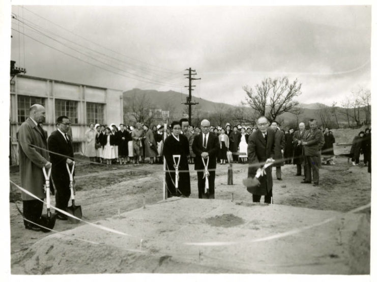 A photograph of the groundbreaking for the School of Nursing, Seoul National University. Pictured (left to right): Chief Advisor, Dr. Schneider (University of Minnesota), Dean of Medicine (Seoul National University), Head of Nursing School (Seoul National University), Hospital Administrator, Dong Ik Kim (Seoul National University), President Yun (Seoul National University). The date is unknown. Source: University of Minnesota Archives, Photograph Collection.