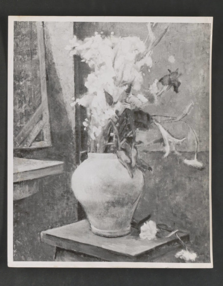 A photo of a piece of artwork on display in the Korea Art Exhibit in 1958. Source: University of Minnesota Archives, Frederick R. Weisman Art Museum records (ua-00004): Korean Art: Gift to University of Minnesota, 1958 (Box 89, Folder 8).