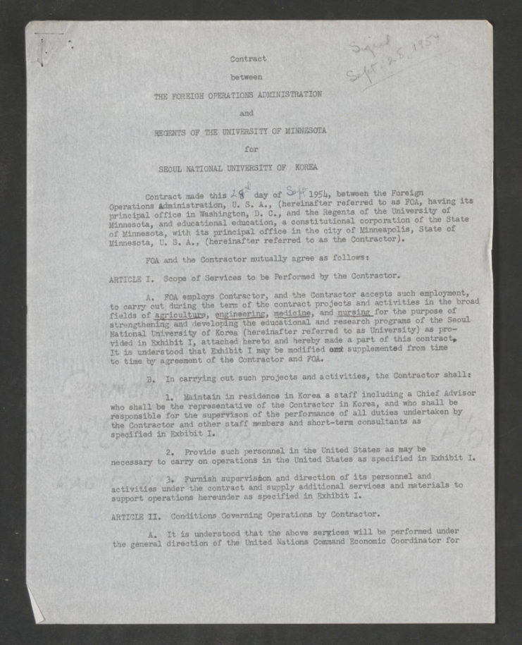 This is the first page of the initial contract between the Foreign Operations Administration and University of Minnesota for Seoul National University, dated September 28, 1954. Source: University of Minnesota Archives, Clyde H. Bailey Papers (uarc 361): Outline history, 1954-1959 (Box 1, Folder 1).