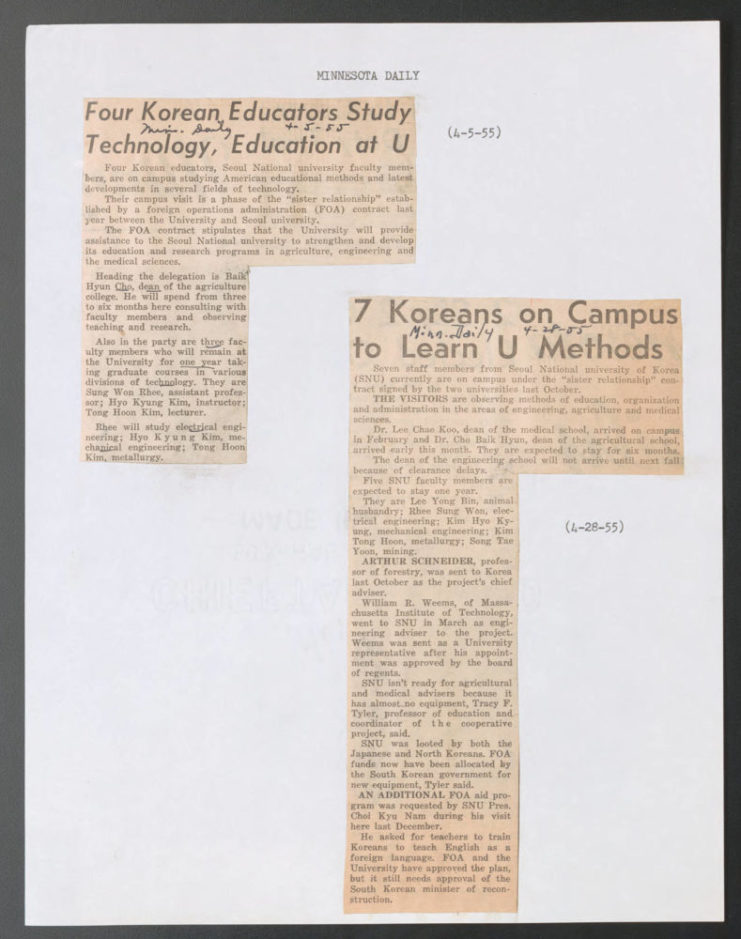 Newspaper clippings from the Minnesota Daily from March of 1955, highlighting the educational experience had by SNU professors at the University of Minnesota. Source: University of Minnesota Archives, Lloyd M. Short papers (uarc 67, uarc 68): Bulletins and Publications (Box 14, Folder 5).