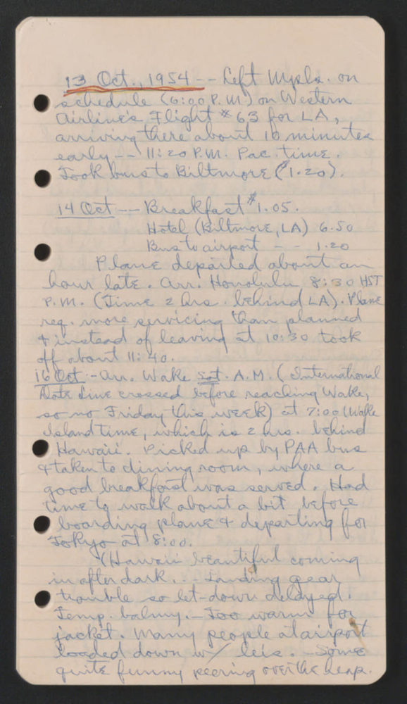 A page from the diary of Arthur Schneider, project director on-site at SNU. The entry is dated October 13, 1954, the day he departed Minneapolis for Seoul, Korea. Source: University of Minnesota Archives, Arthur E. Schneider Papers (uarc 1142): Diary, 1954 (Box 1 Folder 2).